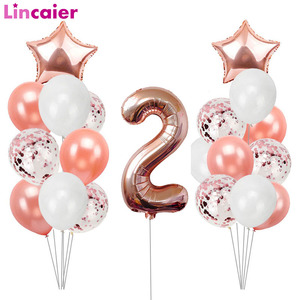 32inch Number 2 Foil Balloons 2nd Happy Birthday Boy Girl Party Decorations Second Supplies I Am Two 2 Years Old