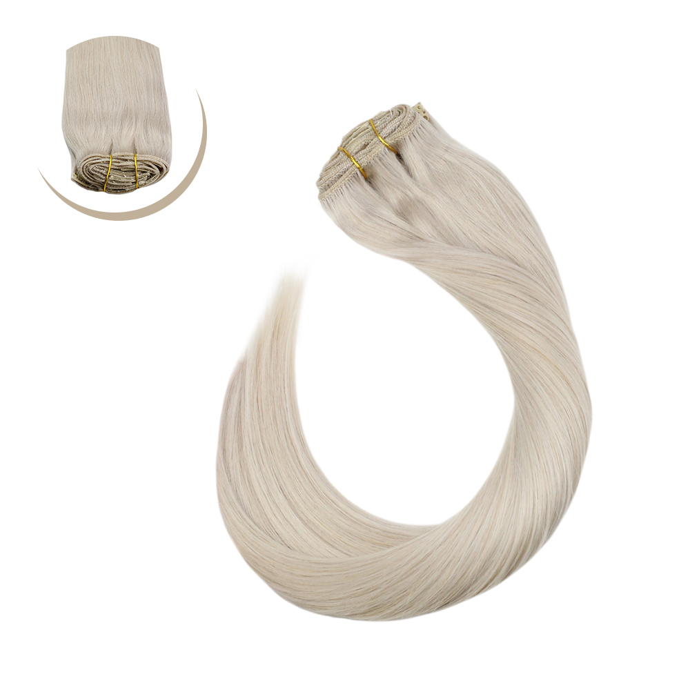 """Ugeat Clip in Full Head Hair Extensions 14-24"""" Blonde Color Hair #60A Weft Human Hair Clips Non-Remy Brazilian Hair 120G/7Pieces"""