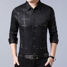 Shirt Luxury Social-Dress Spring Slim-Fit Long-Sleeve Plaid Men's Fashion Masculina Tuxedo