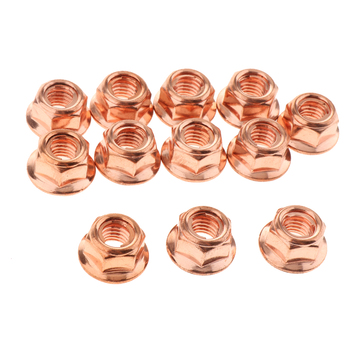 12 Pcs M8 Copper Exhaust Lock Nut Copper Plated Steel 8mm Hex Fits For BMW 3 Series E30 Replace A1201420072 image