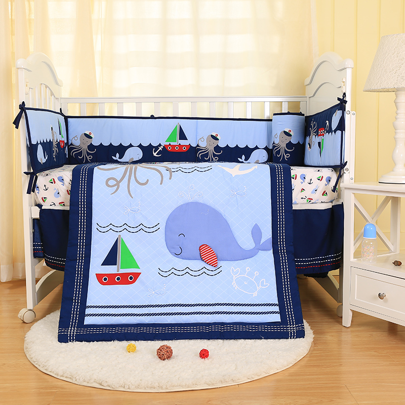 4 Piece Nursery Crib Bedding Set For Baby Boy Navy Blue Whale Pattern 3D Applique 100% Polyester-quilt/fitted Sheet/bumpers