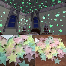 2020 3D Star and Moon Energy Storage Fluorescent Glow In the dark Luminous on Wall Stickers for Kids Room living room Decal(China)