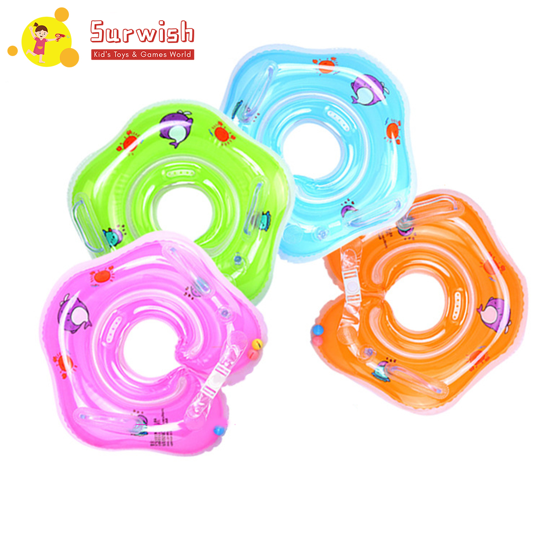 For New Born Infant Neck Strap Thicken Baby Pool Swimming Ring - Random