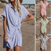 Summer Sundress Button Printed Women Casual Loose Striped Vestidos Polo Short Sleeve Button Shirt Boho Dress Clothing Plus Size