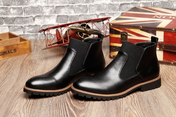 Mens New Style Slip-on Buckle Dress Boots  Fashion Mens Carved Ankle Boot Genuine Leather Breathable Low Heel Oxfords For Men