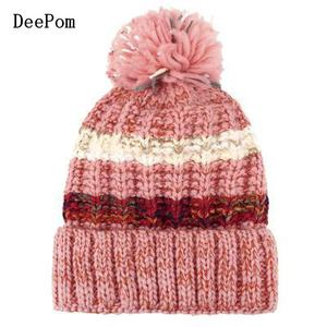 COKK, женская шапка, зимняя, защита ушей, ветрозащитная, шерстяная, вязаная, шапка, утолщенная, бархатная, шапочки, шапка, в полоску, с помпоном, ...