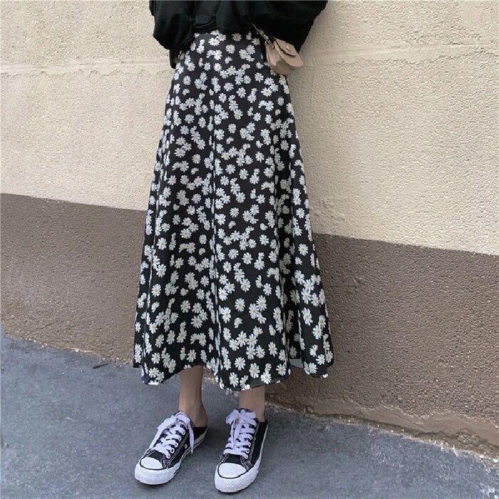 Women Summer Floral Daisy Print Ruffle Pleated Long Skirts Korean Skirt Streetwear Drawstring Elastic Waist Midi Skirt S-xxl