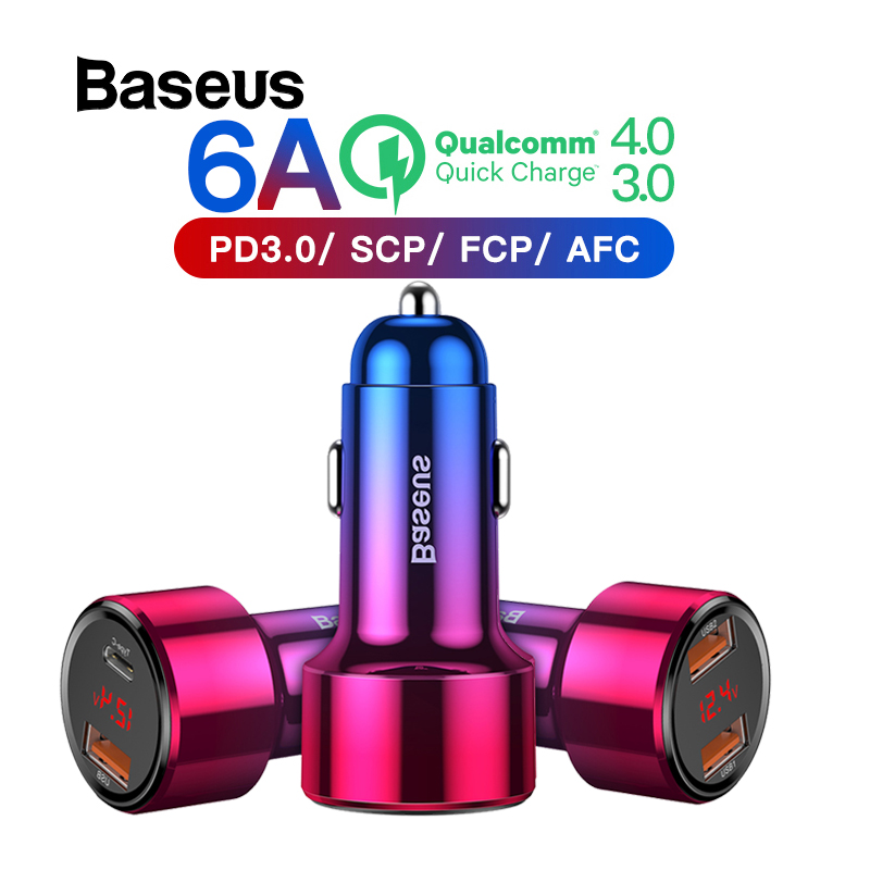 Baseus 6A Car Quick Charger 45W QC4.0 QC3.0 Charge For IPhone XR X Max 8 Xiaomi Huawei P30 Phone Car Fast Charging Auto Charger