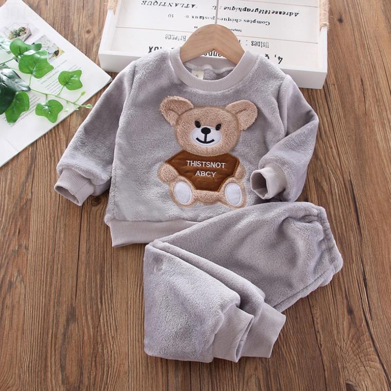 New Autumn Winter Baby Clothes Pajamas Sets Girls Pajamas Children Warm Flannel Fleece Catoon Bear Kids Sleepwear Home Suit 1-6Y 5