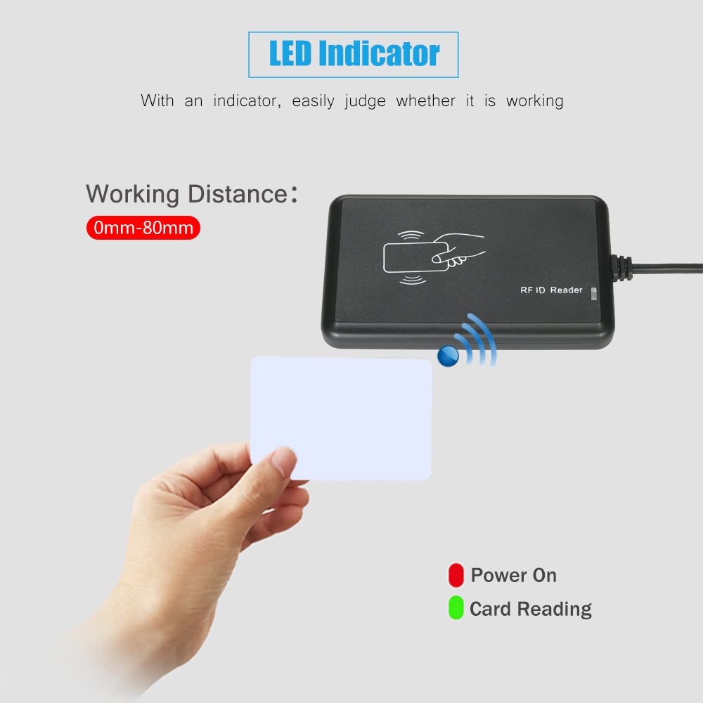 Smart Contactless RFID Card Reader 125KHz USB Configurable EM Proximity