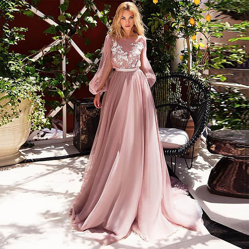Eightree Pink Wedding Dresses Lace Appliques Puff Long Sleeves Bride Dress  A-Line Boho Wedding Gown 2020 Vestido De Noiva