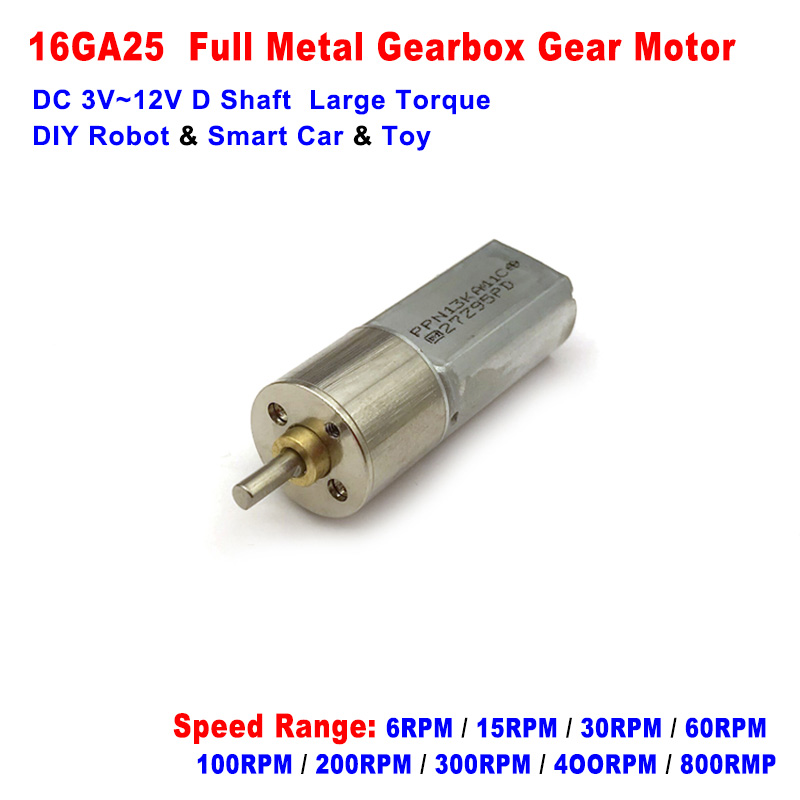 DC 3V-12V 30RPM Slow Speed Mini N30 Gear Motor Full Metal Gearbox DIY Car Robot