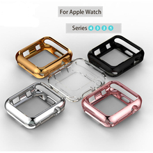 цена на Watch Cover Case For Apple Watch Series 4 3 2 1 Band Case 44 42 40 38mm Candy Color IWatch Soft TPU Silicone Protective Bumper