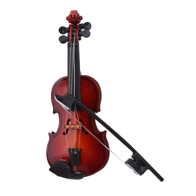 Mini Violin Dollhouse Miniature Musical Instrument Wooden Model Decor With Bow, Stand Support And Case