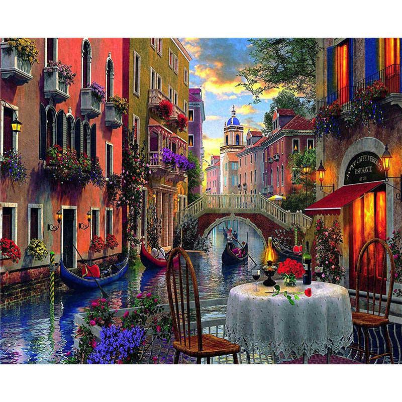 Картина по номерам рамки Раскраска по номерам домашний декор картины пейзаж пляжная вилла украшения RSB8146|Картина по номерам| | - AliExpress