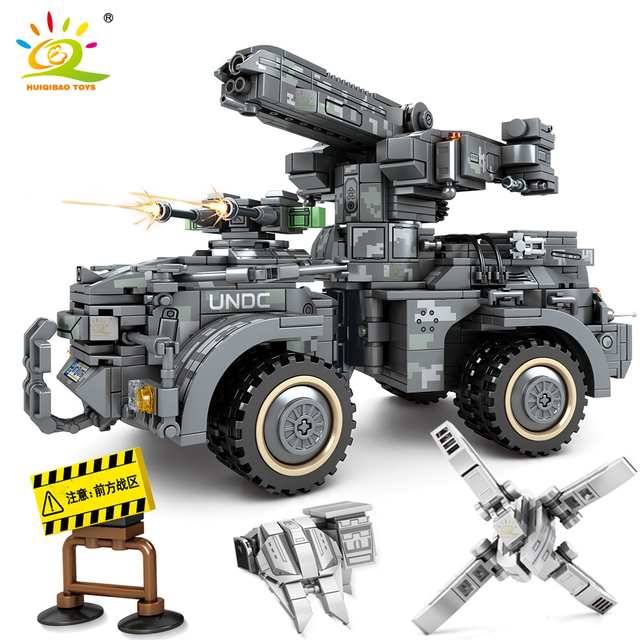HUIQIBAO 1112pcs Wandering Earth Artillery Truck Building Blocks military Army cannon Car vehicle Bricks set Toy For Children