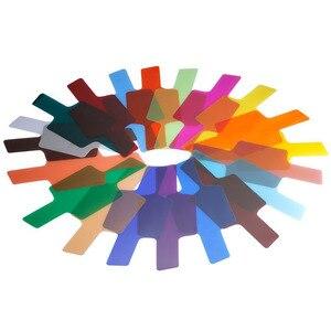 Image 2 - 20 צבעים/חבילה פלאש Speedlite צבע מסנני כרטיסי עבור Canon עבור ניקון מצלמה צילום סינון ג לי פלאש מבזק