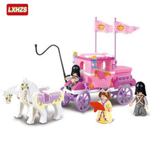 137Pcs Legoinglys friends for girl Princess Royal Carriage Wagon Model Building Blocks Sets Figures Educational Toys For Girls(China)
