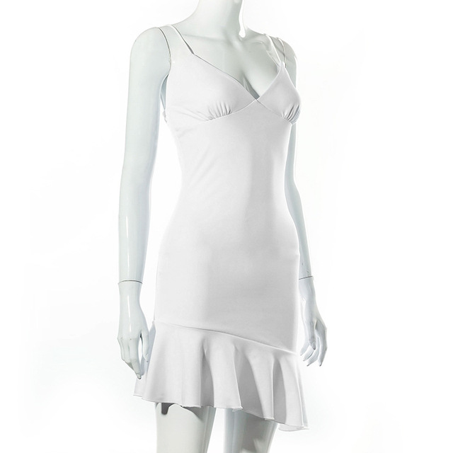 Cryptographic Spaghetti Straps Ruffles Mini Dress Club Party Elegant Sleeveless Slip Women's Summer Sundress Outfits Holiday 5