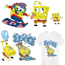 Iron on Patches Heat Transfer Vinyl SpongeBob Patch Applications for Clothes Stripes on Clothes Stickers Applique Thermo Sticker цена
