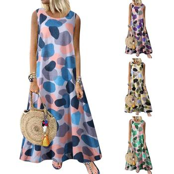 Sexy Women Dress Plus Size M-5XL Casual Summer Round Neck Sleeveless Printed Retro Ethnic Beach Long Dress Lady Dresses Vestidos image