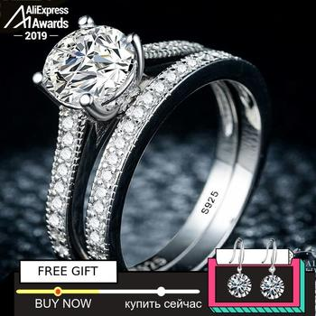 Black Friday Sona S925 Sterling Silver Ring i love mom SONA Diamond VS Clarity 1.25 Carat Luxury Wedding Engagement 2pc unique