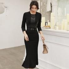Women Sashes PU Leather Patchwork Black Bodycon Dress Winter Brand Clothes Midi Wrap Trumpet Autumn Ropa