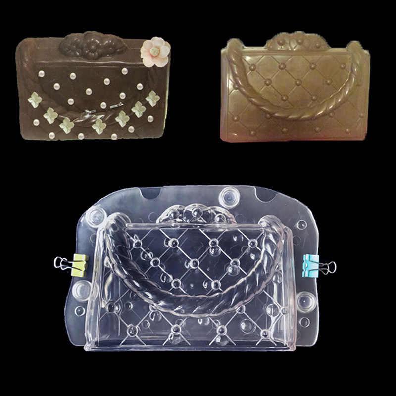 البلاستيك قالب الشوكولاته حقيبة البولي الحلوى كعكة تزيين أدوات قوالب ثلاثية الأبعاد DIY بها بنفسك اليدوية سيدة حقيبة قالب الشوكولاته