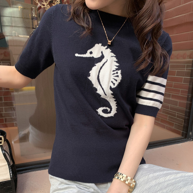 2021 new spring and summer TB women's round neck cashmere T-shirt star same 5-sleeve cashmere sweater Pullover short sleeve 3