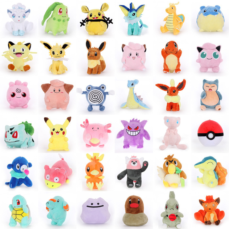 39 Styles15-25cm Pikachu Anime Plush Doll Mewtwo Aerodactyl Raichu Soft Stuffed Peluche Plush Toy Christmas Gift For Children