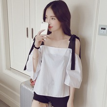 Short Sleeve T-shirts Fashion Off Shoulder Sling Top For Women Loose Casual White Preppy Style Ladies Tee