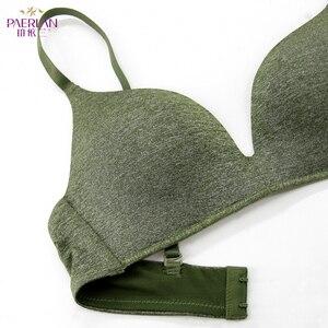 Image 5 - PAERLAN bez fiszbin wygodne małe piersi Push Up 3/4 szklanki biustonosz codzienny prosty styl jednoczęściowy zielony Lycra bielizna kobiet