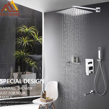 Quyanre ścienny łazienka deszcz wodospad zestaw prysznicowy z kranem ukryty chromowany system prysznicowy do wanny i prysznica mikser kran z kranu tanie i dobre opinie Quyanre Concealed In Wall Mounted Shower Faucets Set Współczesna Zimnej i Ciepłej Naprawiono obrotowy typu Chrome Pojedynczy uchwyt podwójna kontrola