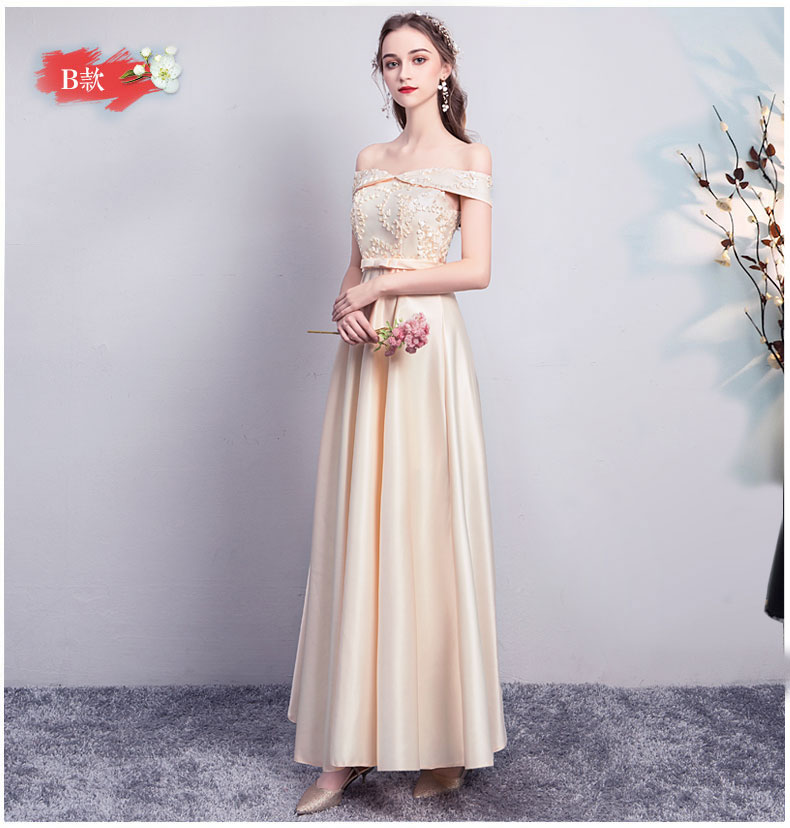 Long Dress For Wedding Party For Woman Bridesmaid Dress Elegant Satin Short Sleeves Long Prom Dress Sexy Club Champagne Vestidos