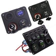 Led painel interruptor de balancim com voltímetro digital dupla porta usb 12v combinação tomada interruptores à prova dwaterproof água para o barco marinho do carro