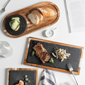 Новый дизайн из цельного дерева снэк-диск деревянный поднос черный сланец хлебная тарелка Lovesickness деревянная тарелка западный стиль Японск...
