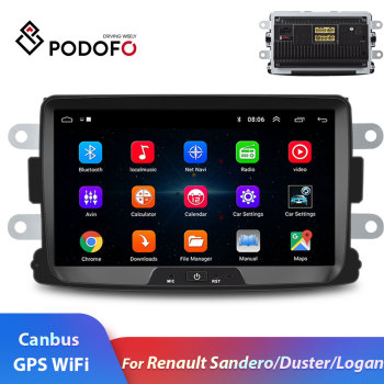 Podofo 2din Car Radio 8'' Android 8.1 GPS Wifi MP5 Mirror Car Multimedia Player For Renault Sandero Duste Logan Dokker autoradio