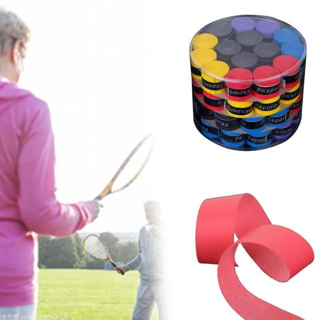 60pcs Sweat Bands Tennis Racket Handle Anti-slip Sweat Absorbing Belt Breathable Fishing Rod Accessories Sweatbands Twining Tape 2