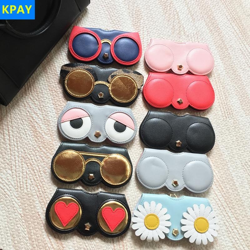 KPAY Cartoon Multi-function Eyeglasses Case Unique PU Leather Glasses Bag Women Sunglasses Storage Protection Ins Popular Cute