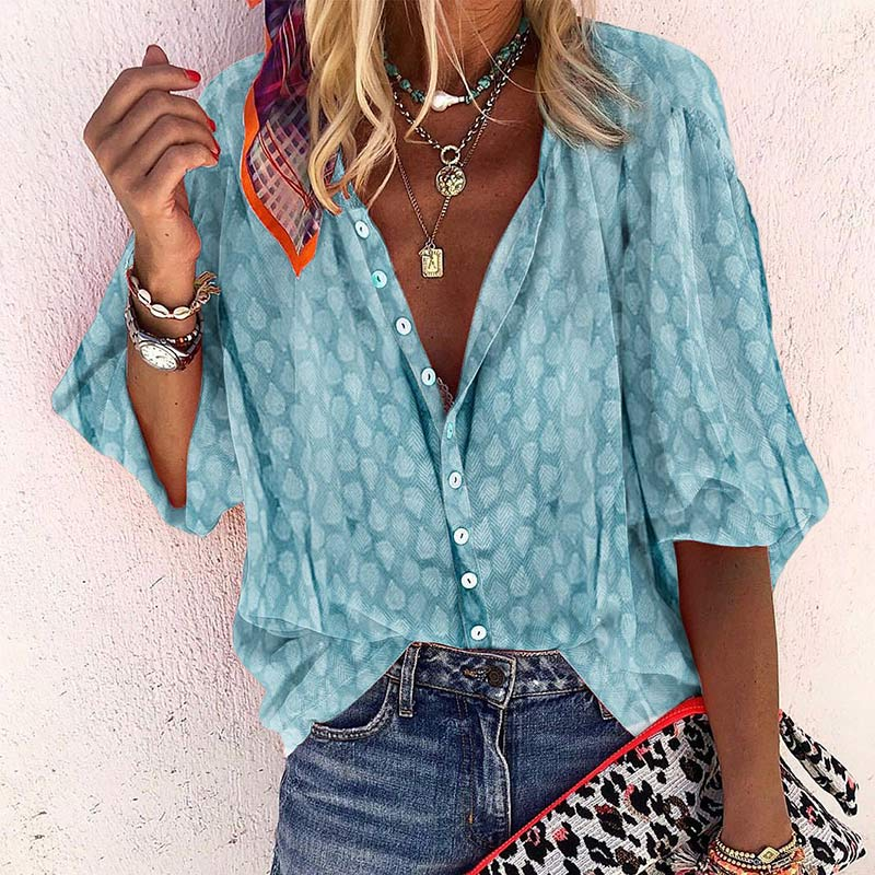 Women's V-Neck Midi Sleeve Print Floral Blouse Solid Button Loose Femmes Tops 2020 Lady Casual Vintage Blouses Top Clothes 3