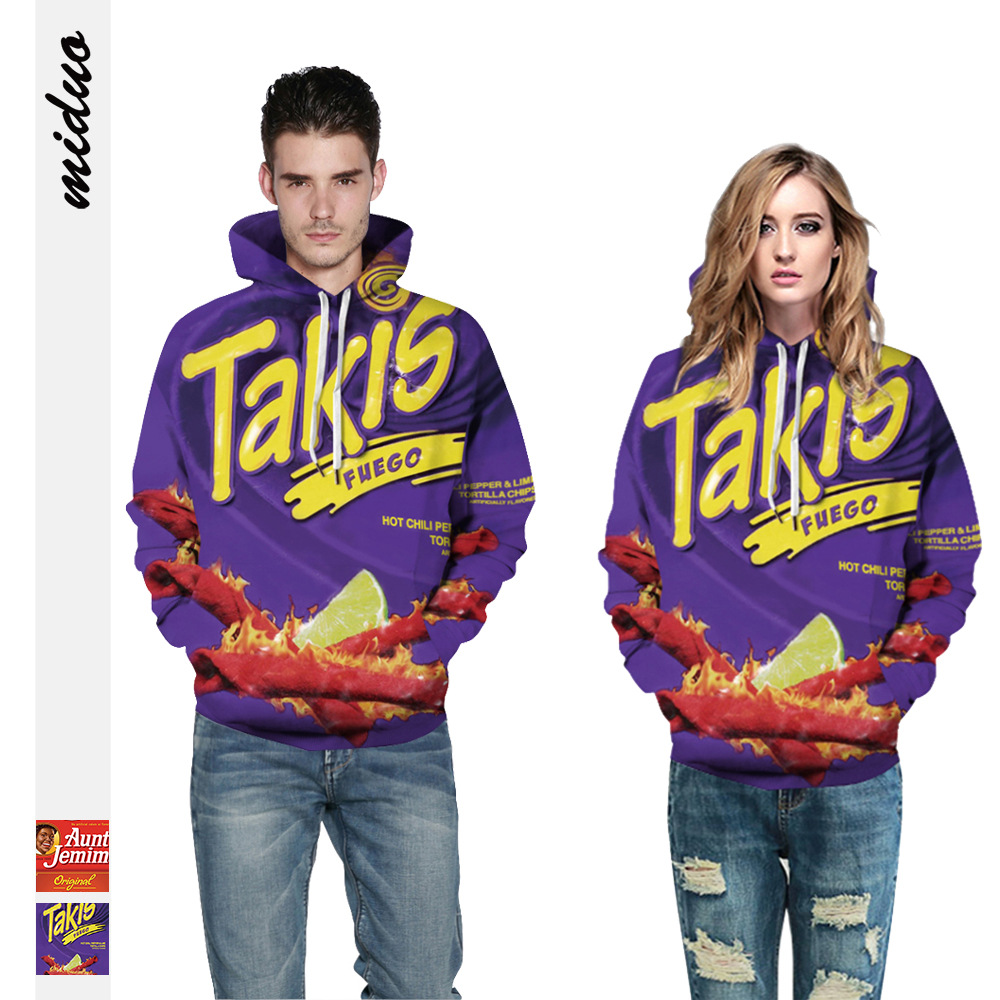2020 Women Men 3D Hoodies Funny Food Letter Takis Fuego Flamin Hot Printing Pullover Hooded Sweatshirts Female Male Fashion Tops