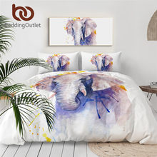 Beddingoutlet Olifant Beddengoed Set Aquarel Dekbedovertrek Set Animal Dekbed Cover Pastel Moderne Bed Set Luxe Queen Size(China)