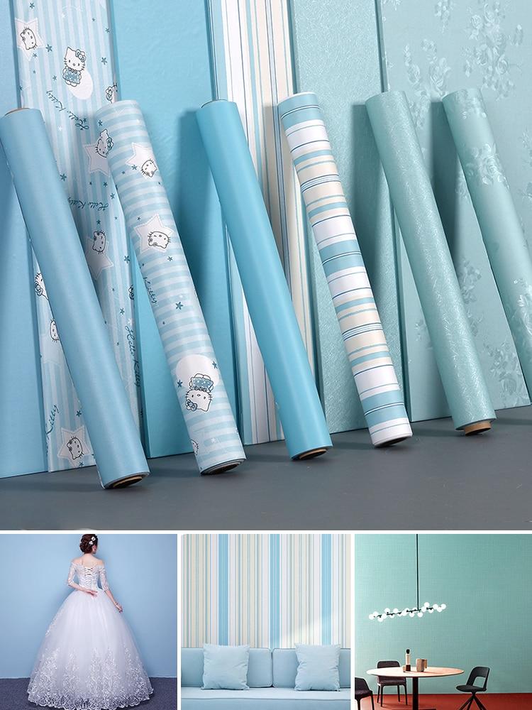 Blue Mediterranean Decorative Wallpaper Self-adhesive Solid Color Waterproof Bedroom Living Room Wallpaper Bedroom Renovation