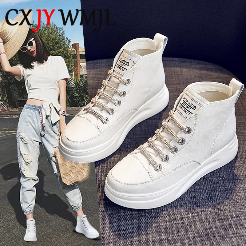 Women Platform Sneakers White High Top Vulcanize Shoes Leather Chunky Casual Shoe Fashion Autumn Leisure Flats Women's Sneaker 9 1