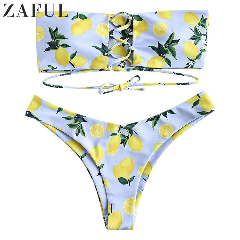 Женский комплект бикини с принтом лимона без бретелек на шнуровке|Купальники  |   | АлиЭкспресс