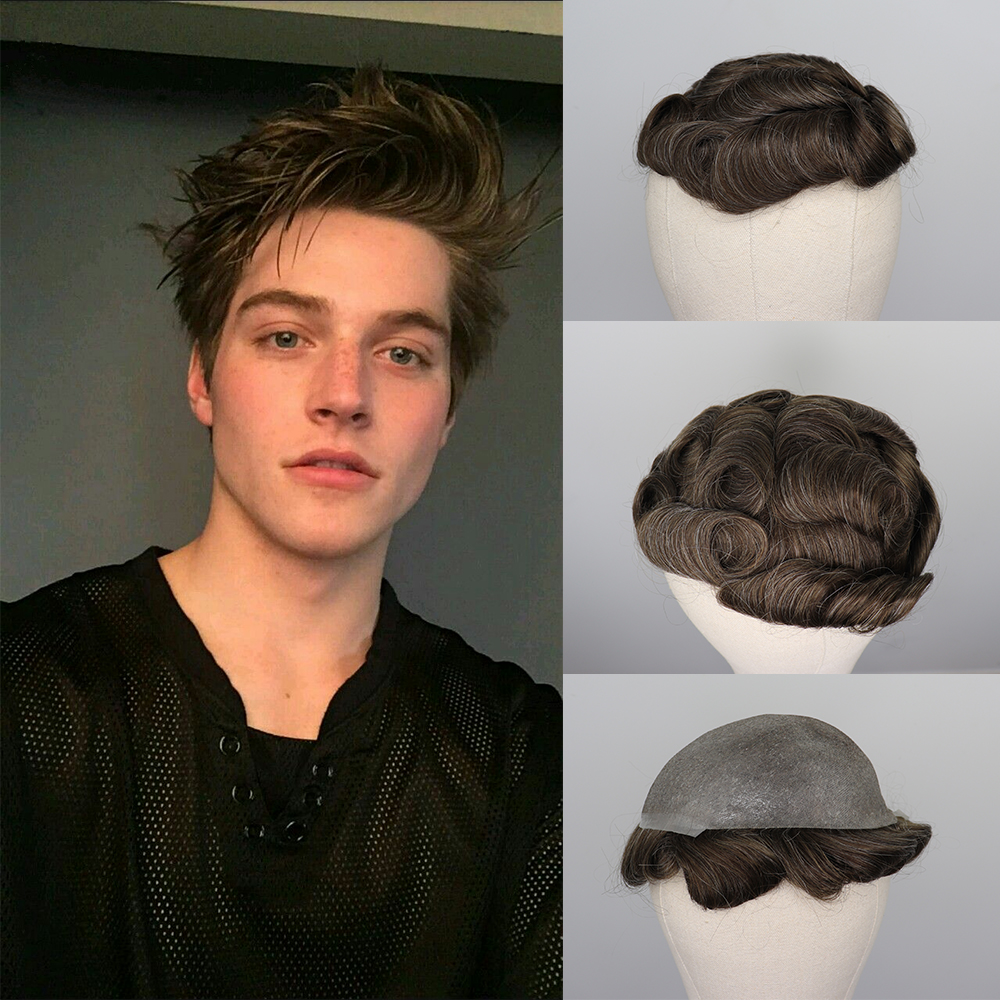 YY Wigs Men Toupee 8x10 Thin Pu Skin Pu Peruk Brown Mix Grey Color Replacement System 6 Inch Remy Brazilian Hair Hombre Men Wigs