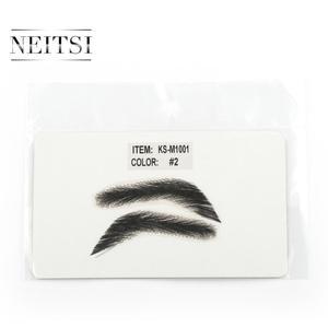 Image 3 - Neitsi לגבר 100% שיער טבעי רמי שיער בלתי נראה בעבודת יד מזויף גבות יד קשור גבות שווא M1001