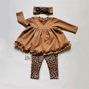 New Autumn Winter Toddler Kids Baby Girls Clothes Tracksuit Sets Ruffle Long Sleeve Tops Leopard Pants Headwear Outfits