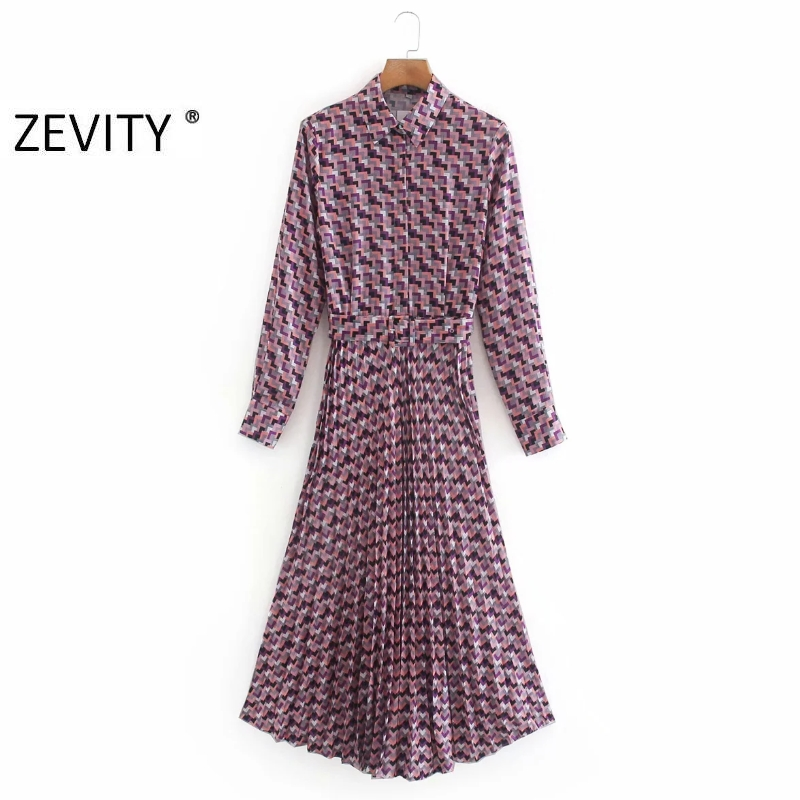 Zevity New women vintage geometric print casual sashes shirt dress chic female long sleeve pleated vestidos party dresses DS4157