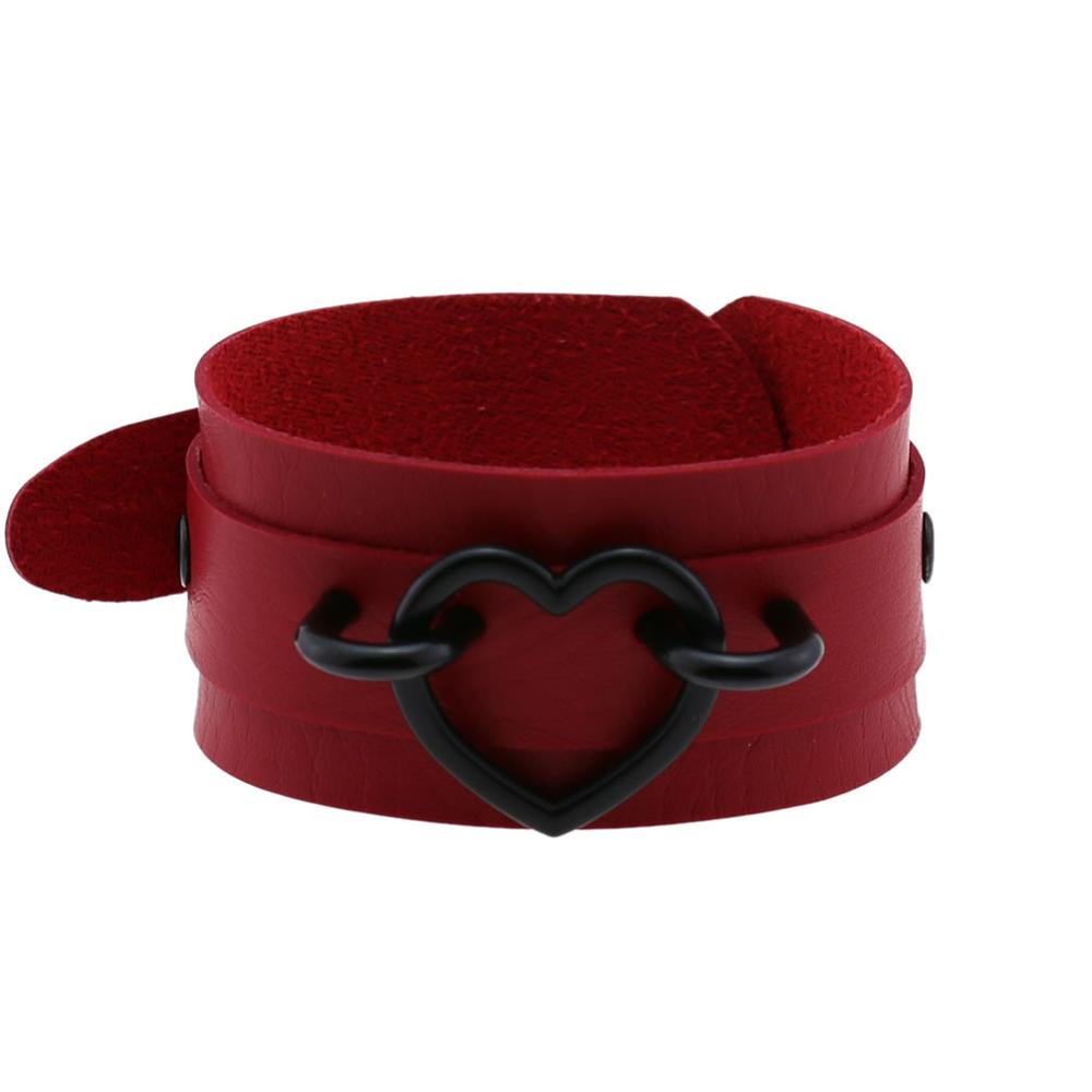 All balck punk heart bracelets women men Leather Wristband Bracelet Cuff goth jewelry gothic emo armbands cosplay accessories